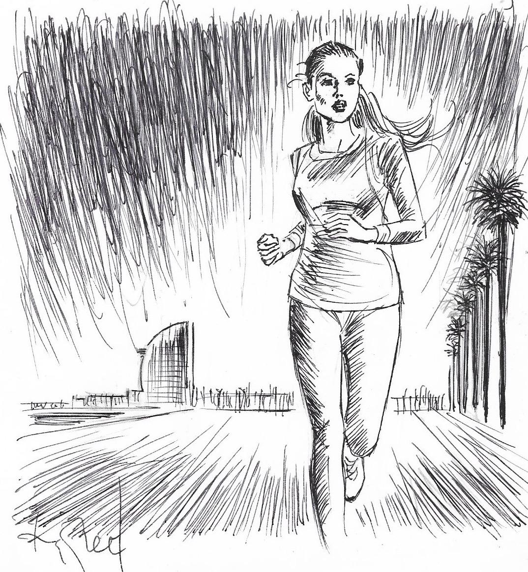 Greta Bergman, fent running vora el mar.