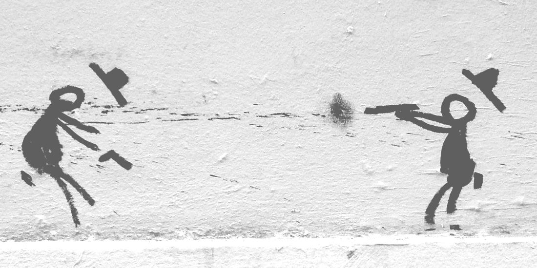 Grafiti del duelo en la calle Ferlandina