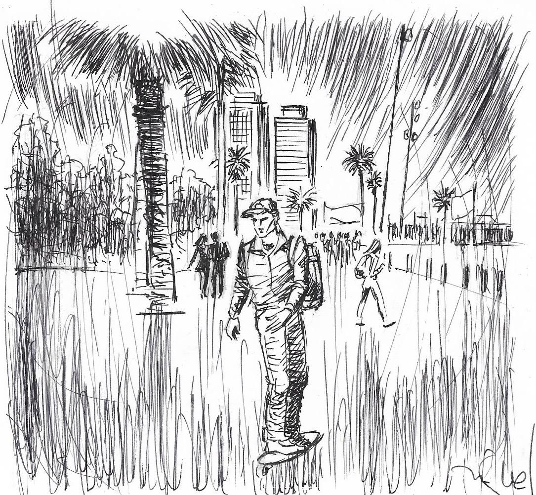 Barron Kroc, patinant pel passeig marítim de Barcelona.