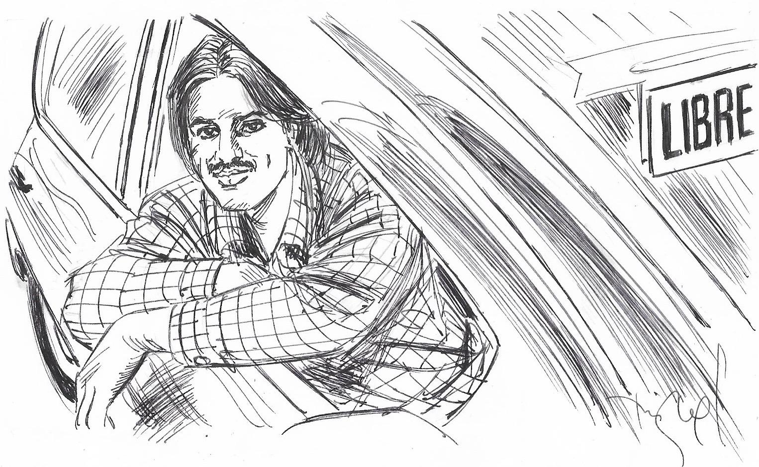 Jahandir Khan, esperant clients en una parada de taxis.