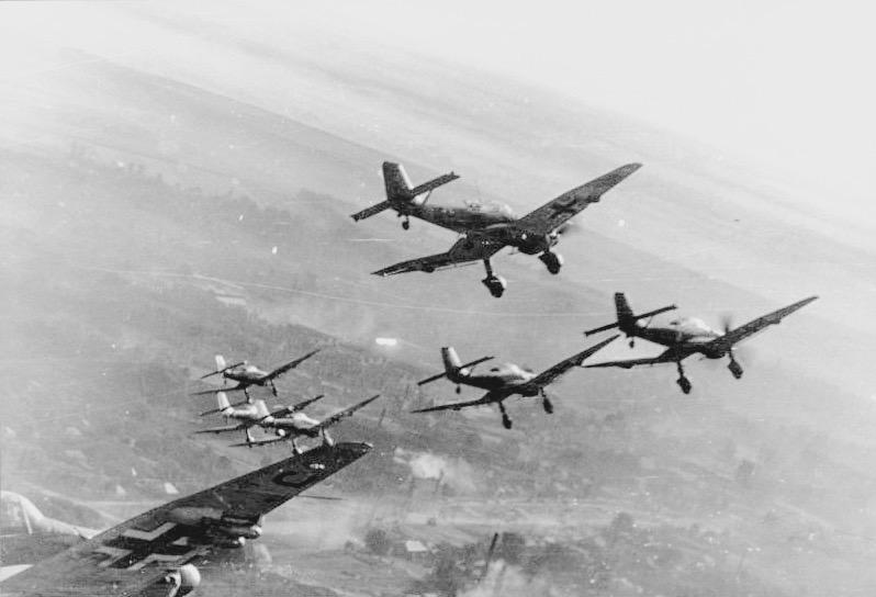 Avions alemanys stukas en la batalla de Catalunya