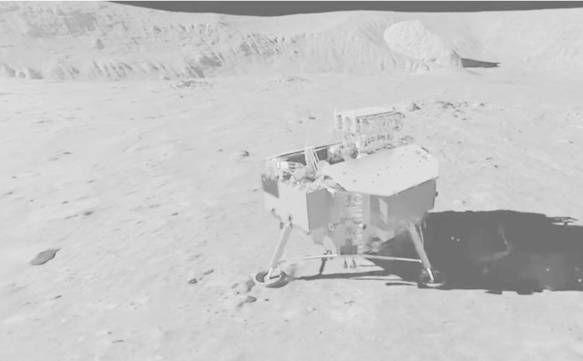 Recreación de la sonda Chang'e 4 llegando a la Luna.