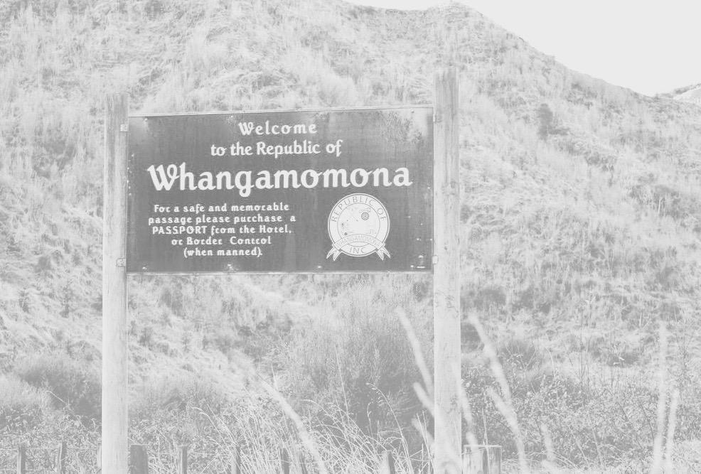Cartel de bienvenida a la República de Whangamomona