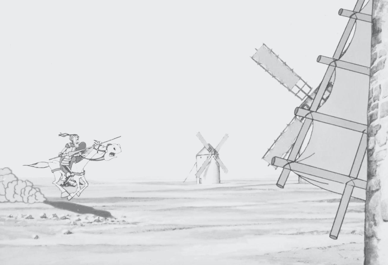 Don Quijote carga contra los molinos de viento