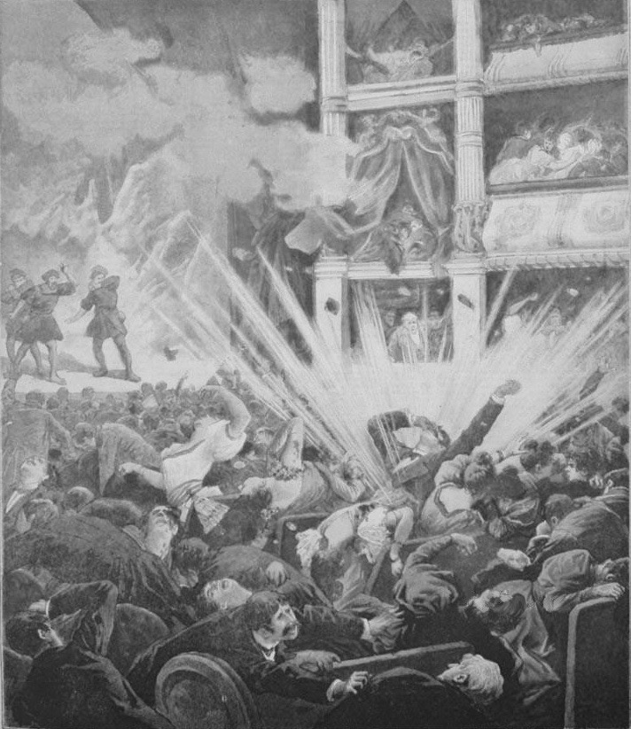 Detall del gravat sobre la bomba del Liceu a la portada de 'Le Petit Journal' del 25 de novembre del 1893.
