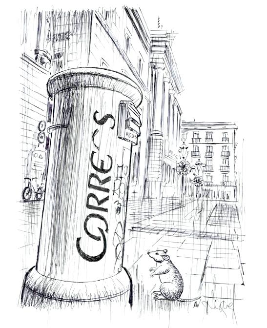 La Bústia Maruixa i el seu amic ratolí, a la Plaça de Sant Jaume.