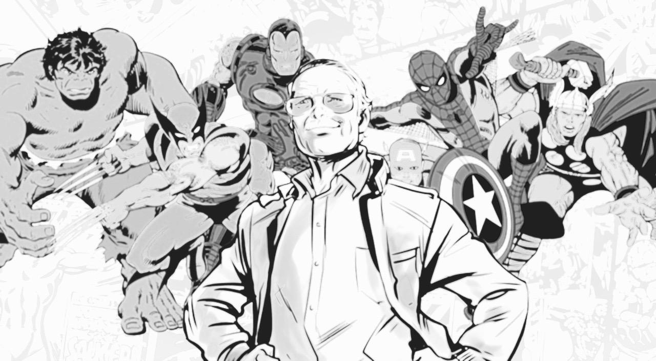 Stan Lee, caricaturitzat amb els seus herois. / Foto: comicbook