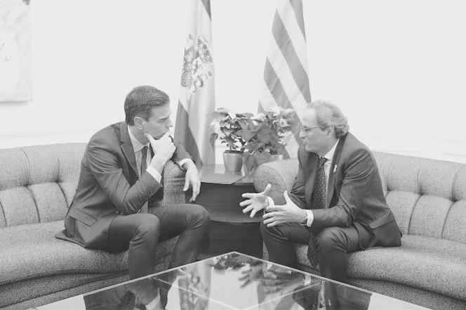 Reunión enre Pedro Sánchez y Quim Torra en el Palau de Pedralbes