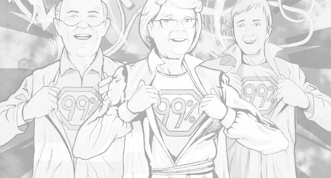 Detalle de la portada del cómic de los Yayoflautas, obra de Andrea Lucio.
